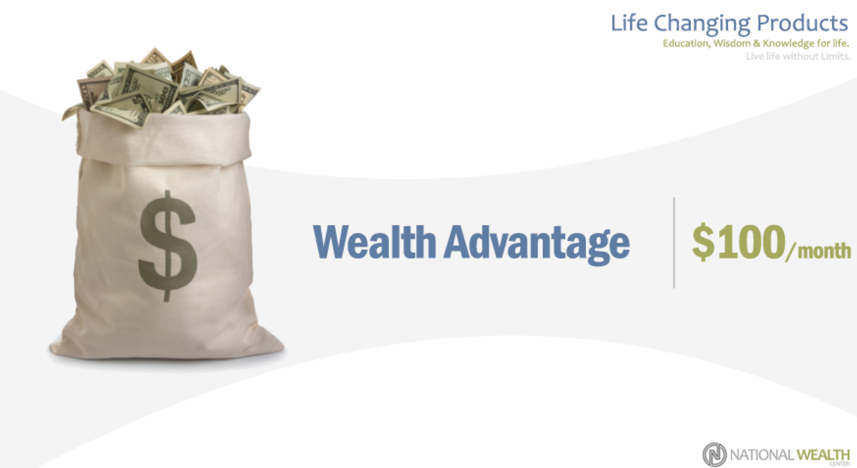 The $100 wealth product level consist of informational products focused on Finance, Increasing Assets, and Growing Wealth: